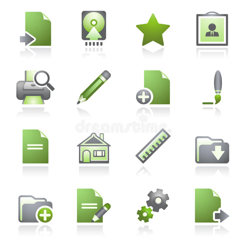 Download Document Web Icons, Set 2. Gray And Green Series. Stock Vector - Image: 15975163