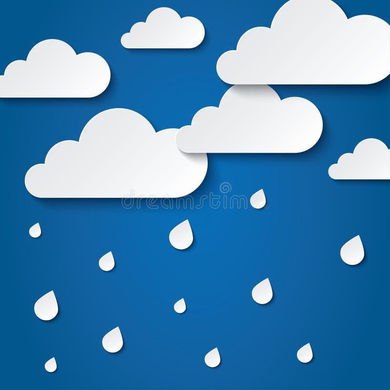 Document witte wolken op blauw. Document regendruppels. vector illustratie