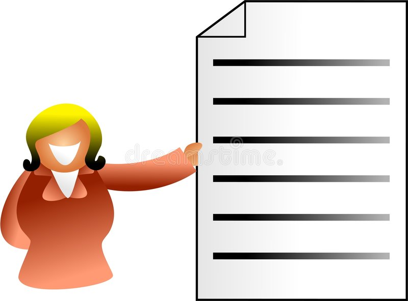 Document woman. Business woman holding up a document - icon people series vector illustration