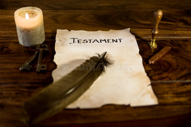 Document with the word Testament. Old document with the word Testament stock photos