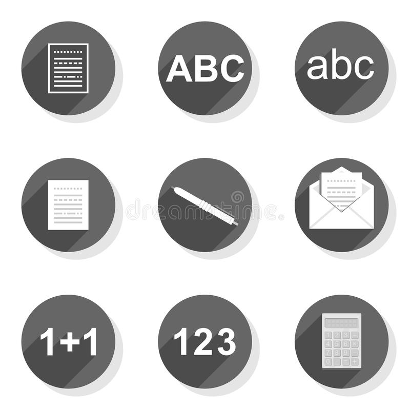 Document write count flat modern icon set. Document write count collect send round gray flat modern icon set isolated on white background royalty free illustration