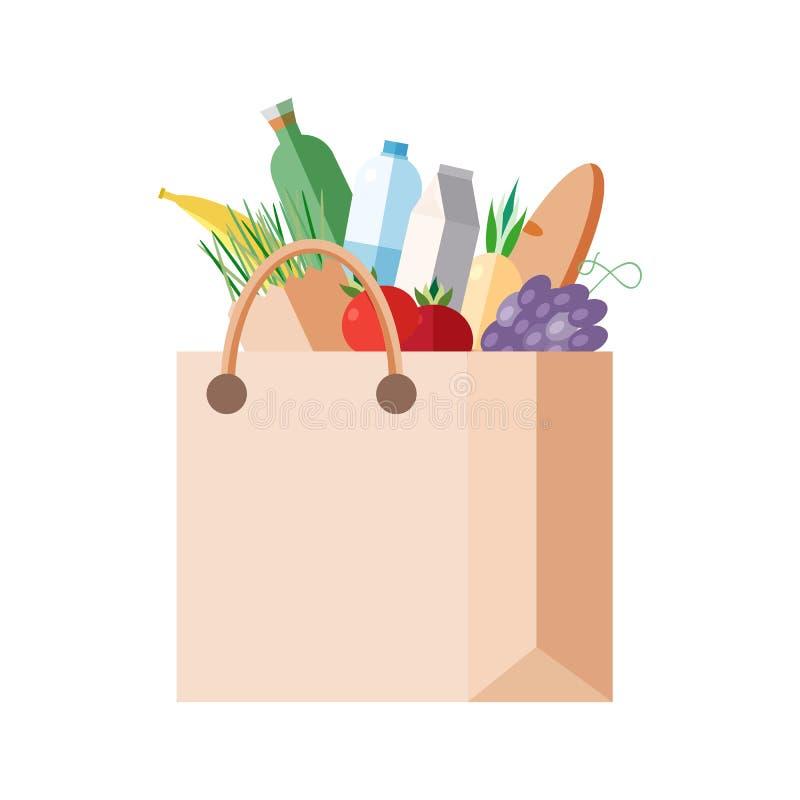 Document zak met aankopen volledig pakket met vers voedsel, groenten, vruchten, zuivelproducten Concept die in een kruidenierswin royalty-vrije illustratie