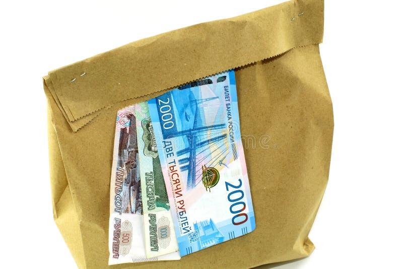 Document zak met geld op witte achtergrond stock foto's