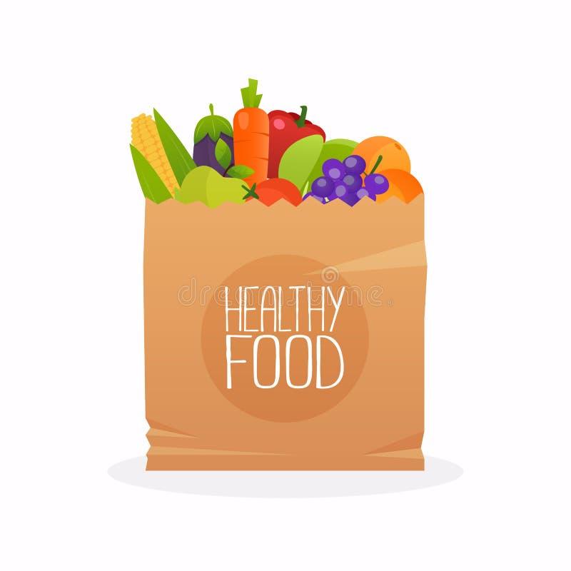 Document zak met gezond voedsel Gezonde organische vers en natuurlijk stock illustratie