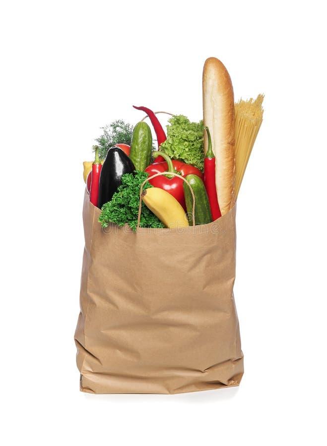 Document zak met groenten stock afbeelding