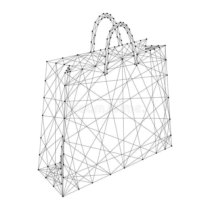Document zak met handvatten voor het winkelen van abstracte futuristische veelhoekige zwarte lijnen en punten Vector illustratie vector illustratie