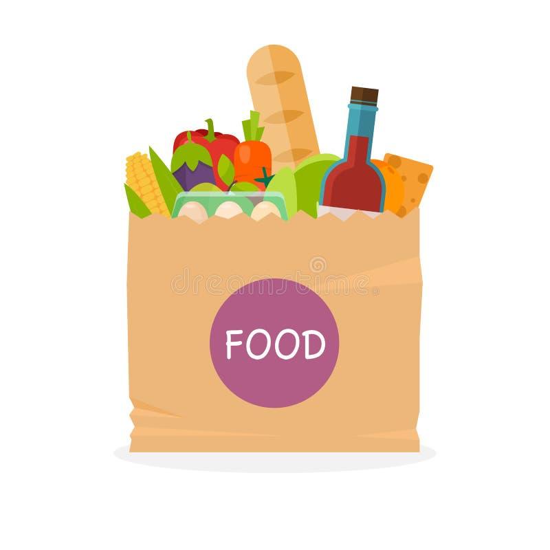 Document zak met voedsel Gezonde organische vers en natuurvoeding Gr. vector illustratie