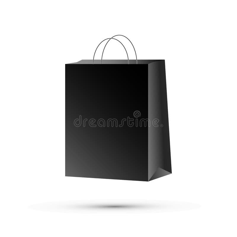 Document zak zwarte, vectorillustratie Het Winkelen van het document zak vector illustratie