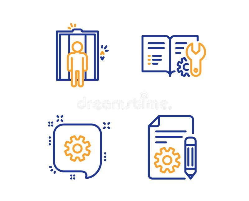 Documentação da engenharia, de ícones do elevador e da roda denteada grupo Sinal da documenta??o Manual, elevador, engenharia Vet ilustração do vetor