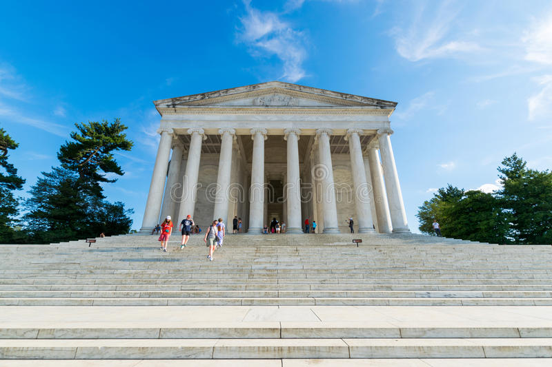 Documentair Beeld van Jefferson Memorial in District van Colum stock afbeeldingen
