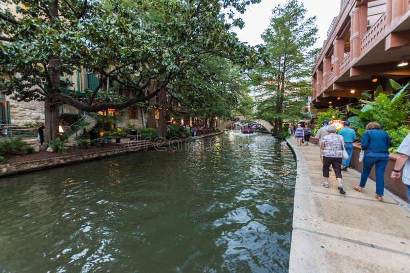 Documentair Beeld van San Antonios Tourist Destination River Walk stock foto