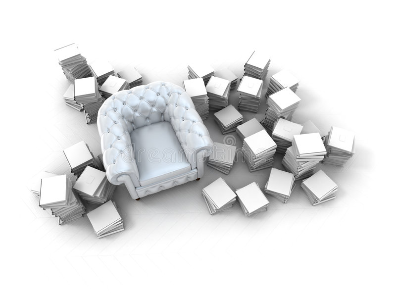 Documentation. Satin club armchair surrounded by books royalty free illustration