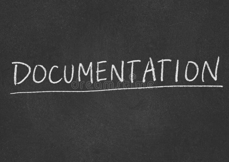 Documentation. Concept word on a blackboard background stock photos