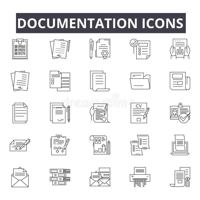 Documentation line icons for web and mobile design. Editable stroke signs. Documentation  outline concept illustrations royalty free illustration