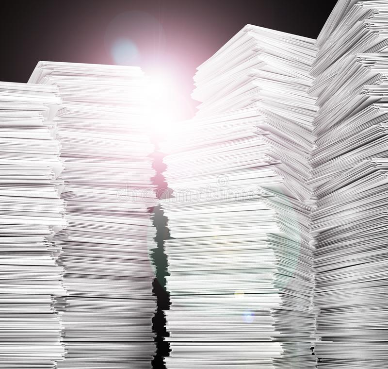 Documentation. Stack of white paper. stock photography