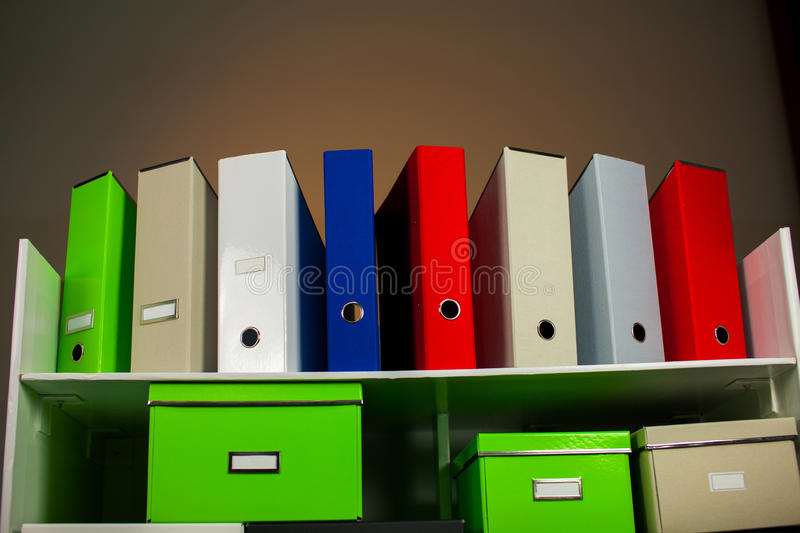 Documentation stand with boxes stock image