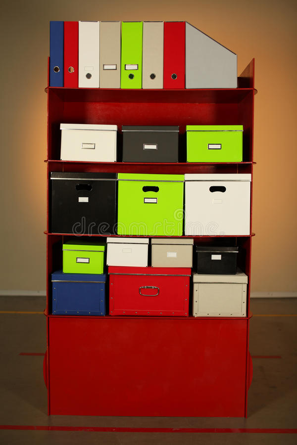 Documentation stand with boxes stock images