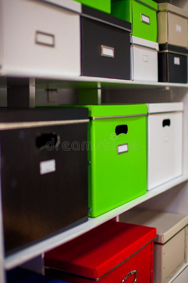 Documentation stand with boxes royalty free stock images