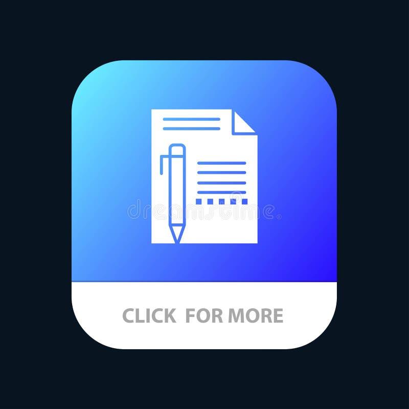 Documente, corrija, pagine, empapele, dibuje a lápiz, escriba el botón móvil del App Android y versión del Glyph del IOS stock de ilustración