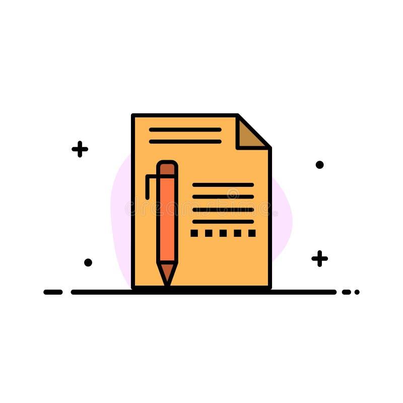 Documente, edite, pagine, forre, escreva, escreva a negócio a linha lisa molde enchido da bandeira do vetor do ícone ilustração do vetor