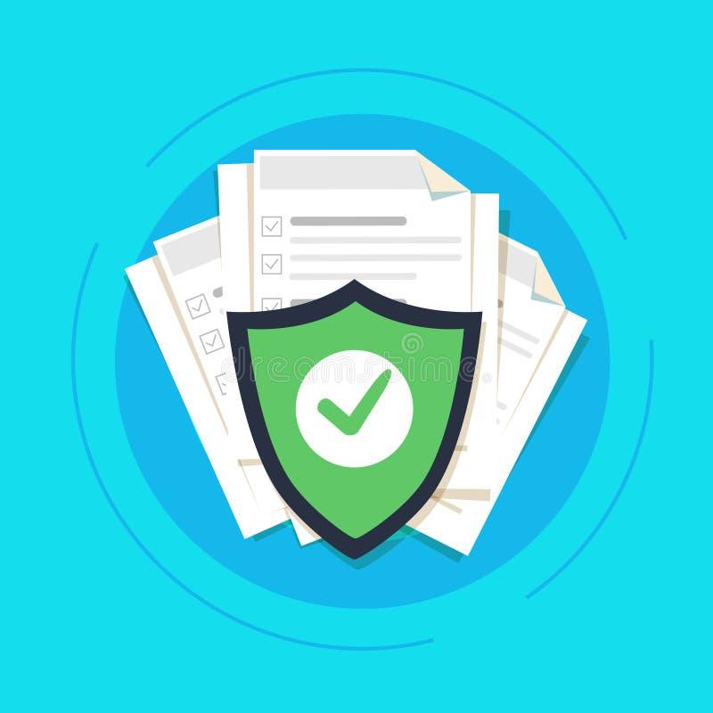 Documente el concepto de la protección, la información confidencial y la idea de la privacidad, acceso de la documentación de la  ilustración del vector