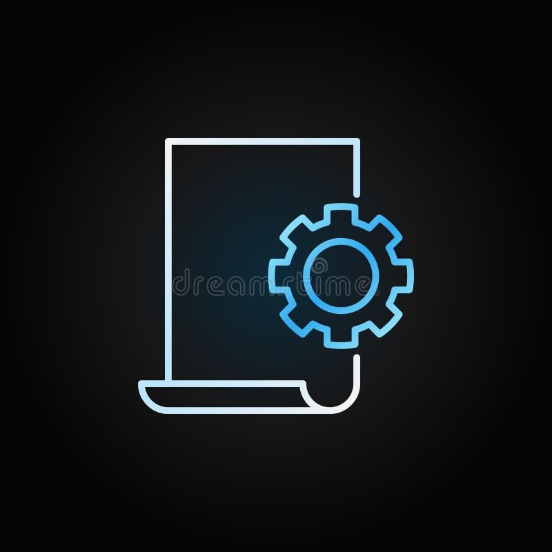 Documente el icono o la muestra brillante linear del vector de los ajustes libre illustration