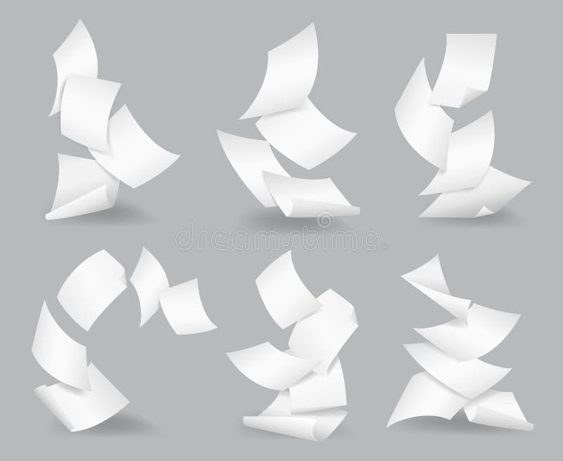 Documente el negocio en blanco, página blanca, burocracia del diseño, mosca del objeto, ejemplo del vector Hojas de papel del vue libre illustration