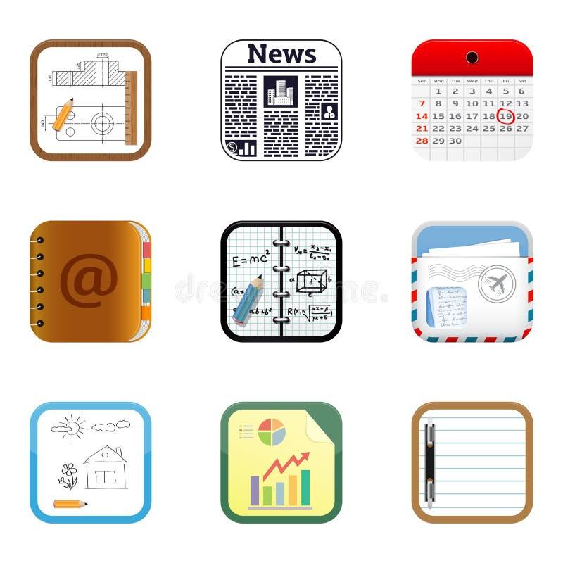 Documenteert apps pictogrammen royalty-vrije illustratie