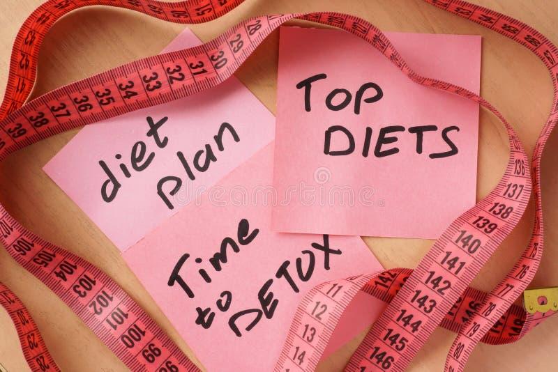 Documenten met maaltijdplan, hoogste diëtentijd aan detox stock afbeeldingen