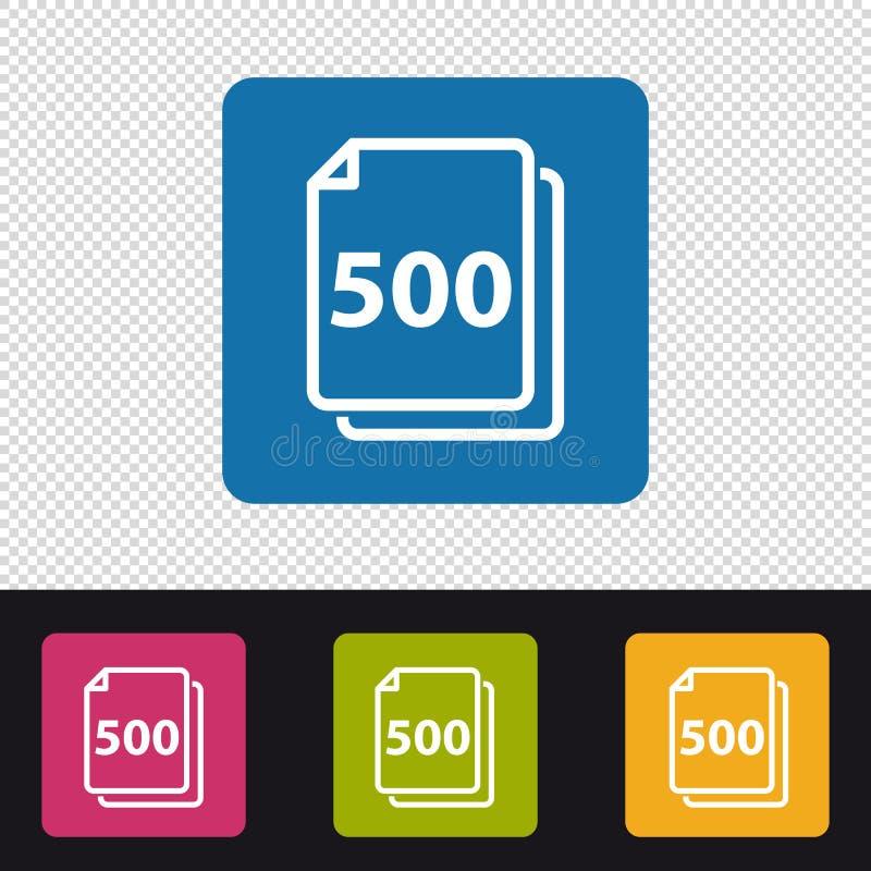 Documenten Pictogram 500 Bladen - Kleurrijke VectordieIllustratie - op Transprent-Achtergrond wordt geïsoleerd stock illustratie