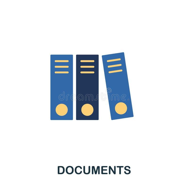 Documenten vlak pictogram Vlak het pictogramontwerp van de premiestijl Ui Illustratie van documenten vlak pictogram pictogram op  royalty-vrije illustratie