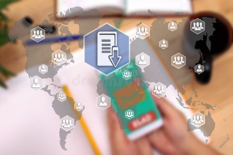 Documentenbeheersysteem DSM op het aanrakingsscherm aan netwo royalty-vrije stock afbeeldingen