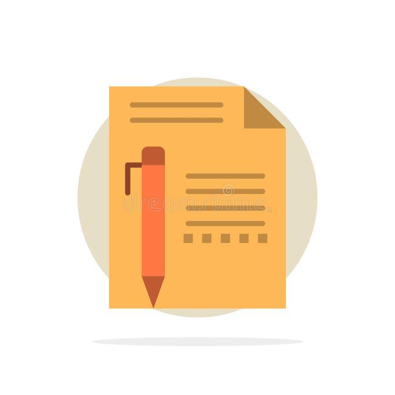 Documentez, éditez, paginez, empaquetez, crayonnez, écrivez à fond abstrait de cercle l'icône plate de couleur illustration stock