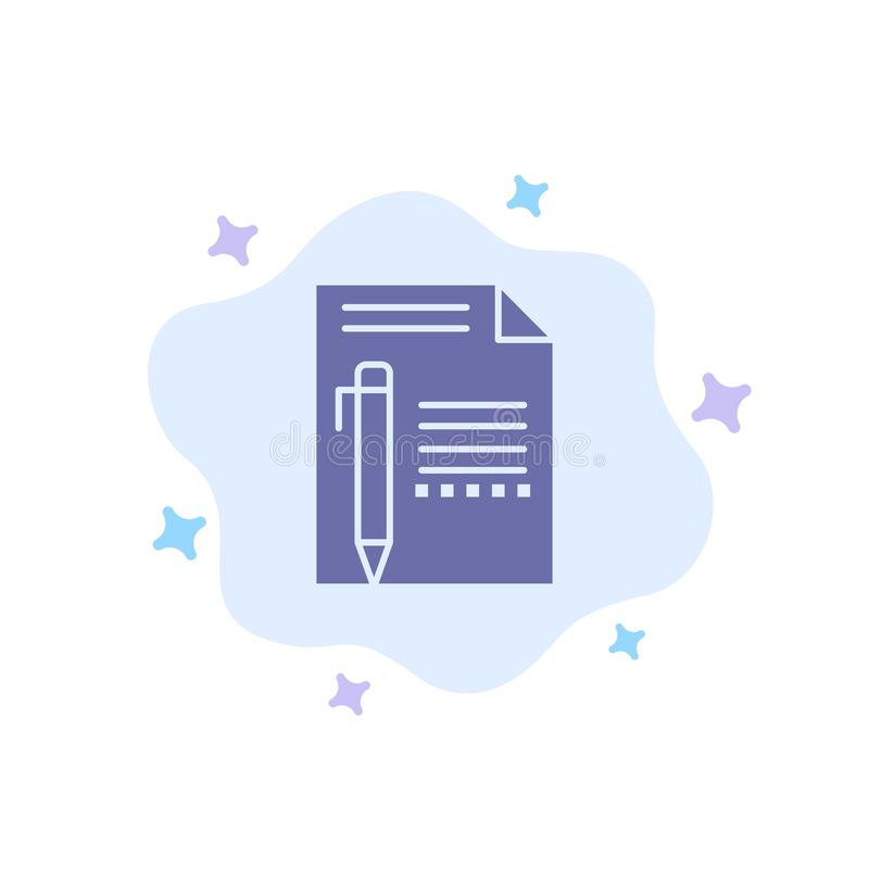 Documentez, éditez, paginez, empaquetez, crayonnez, écrivez l'icône bleue sur le fond abstrait de nuage illustration stock