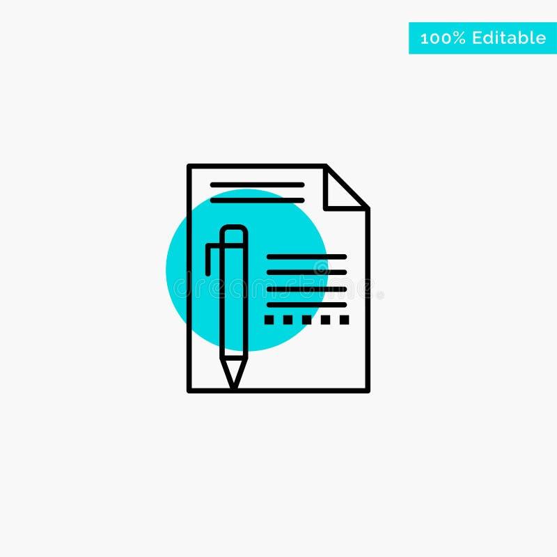 Documentez, éditez, paginez, empaquetez, crayonnez, écrivez l'icône de vecteur de point de cercle de point culminant de turquoise illustration stock