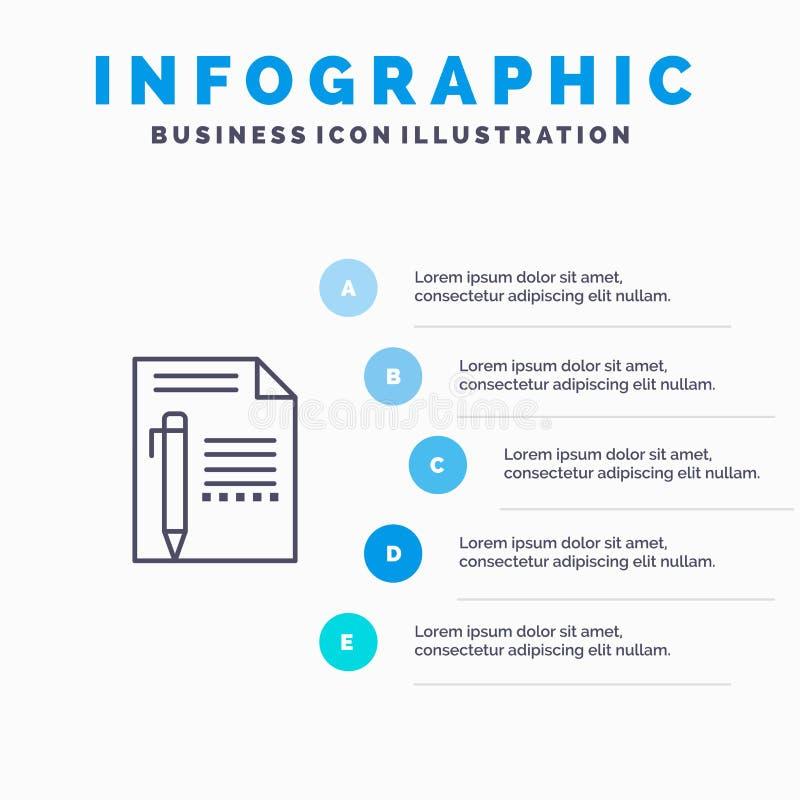 Documentez, éditez, paginez, empaquetez, crayonnez, écrivez la ligne icône avec le fond d'infographics de présentation de 5 étape illustration libre de droits