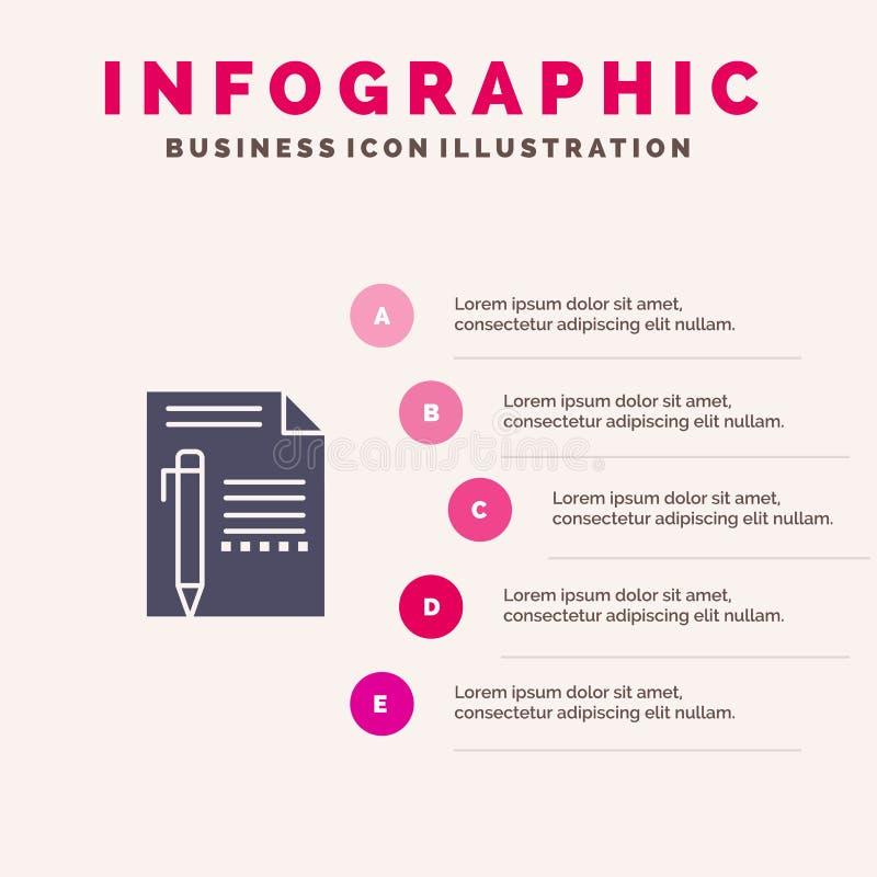 Documentez, éditez, paginez, empaquetez, crayonnez, écrivez le fond solide de présentation d'étapes d'Infographics 5 d'icône illustration de vecteur