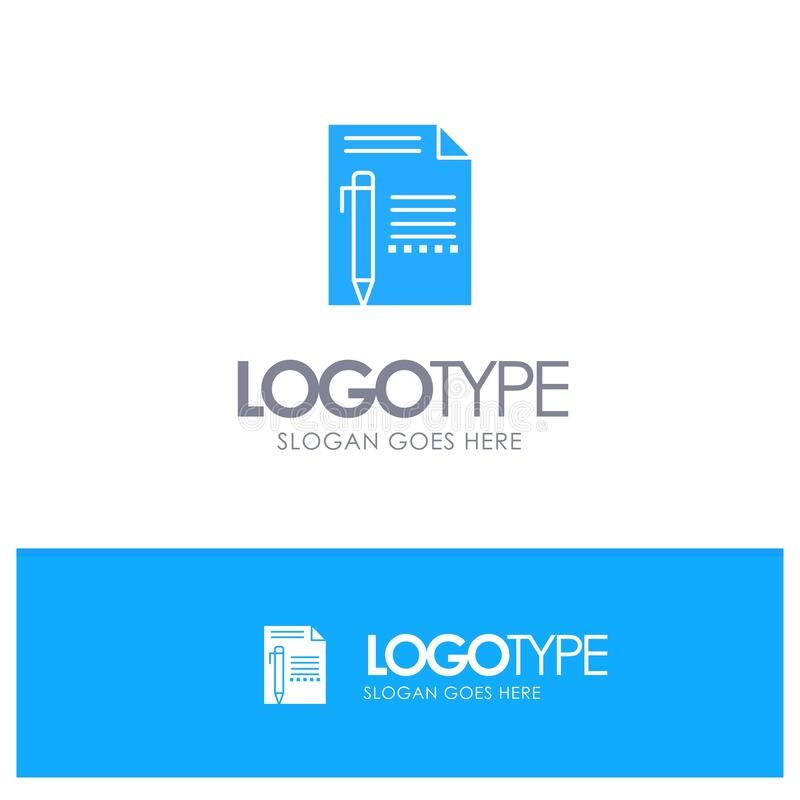 Documentez, éditez, paginez, empaquetez, crayonnez, écrivez le logo solide bleu avec l'endroit pour le tagline illustration libre de droits
