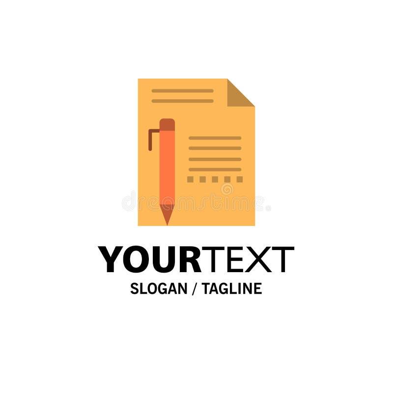 Documentez, éditez, paginez, empaquetez, crayonnez, écrivez les affaires Logo Template couleur plate illustration libre de droits