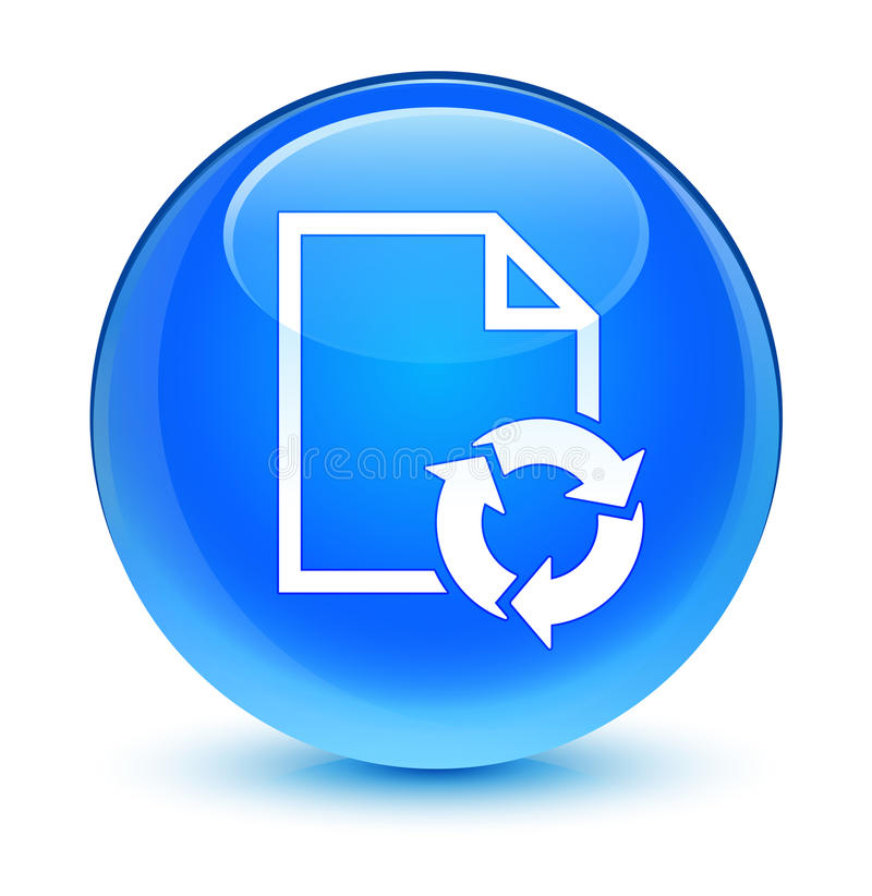 Documenti bottone rotondo blu vetroso dell'icona trattata il ciano illustrazione di stock
