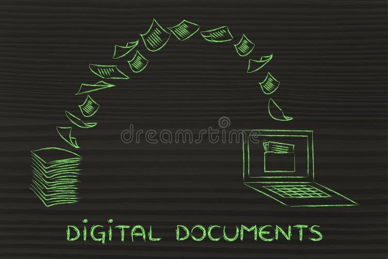 Documenti di Digital: carta e tornitura di esame nei dati illustrazione di stock