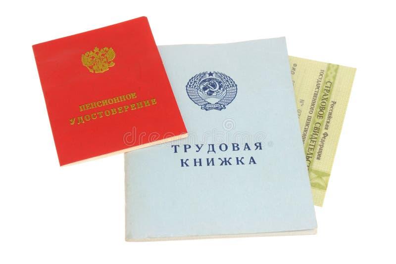 Documenti di pensione fotografie stock