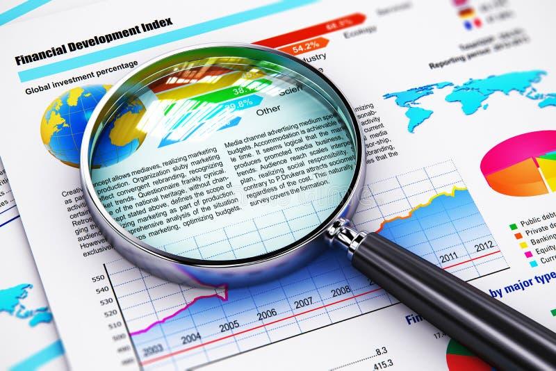 Documenti e lente d'ingrandimento finanziari di rapporto illustrazione vettoriale
