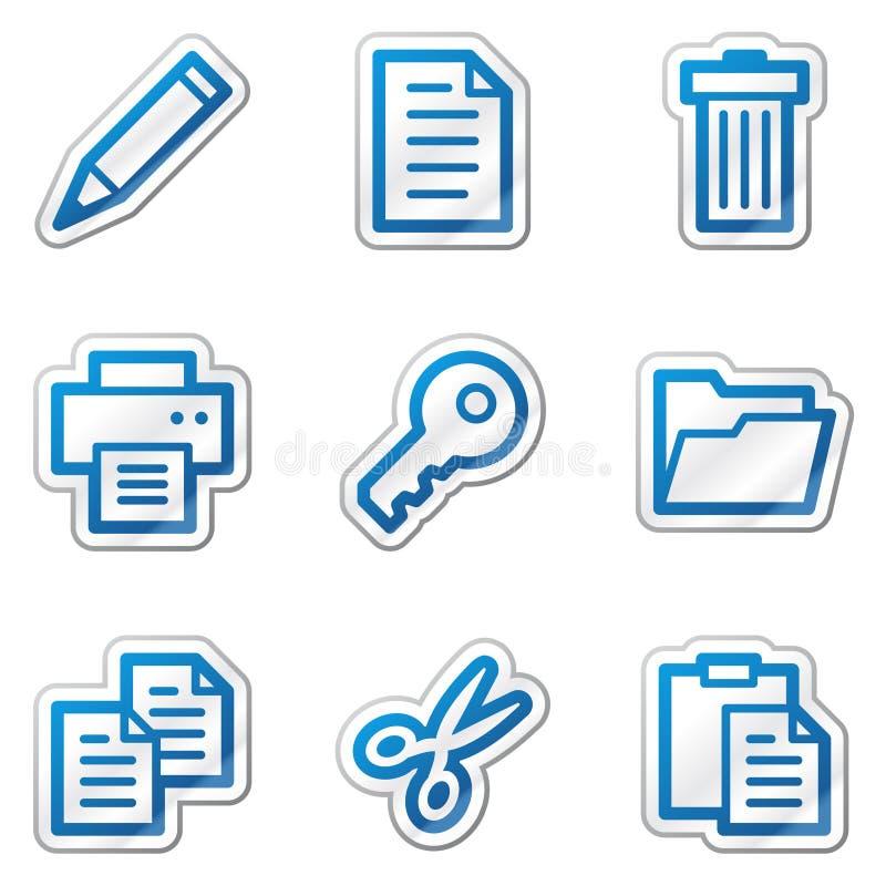 Documenti le icone di Web, serie blu dell'autoadesivo di profilo illustrazione vettoriale