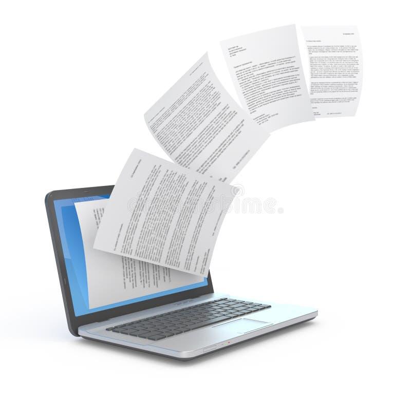 Documenti Uploading dal computer portatile. royalty illustrazione gratis