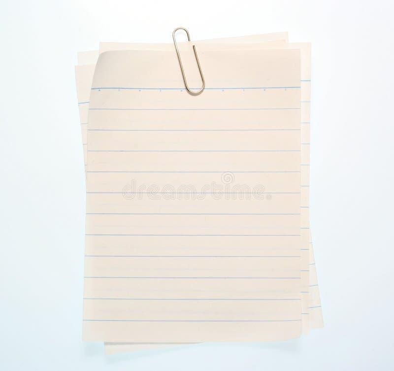 Documento allineato del taccuino fotografia stock libera da diritti