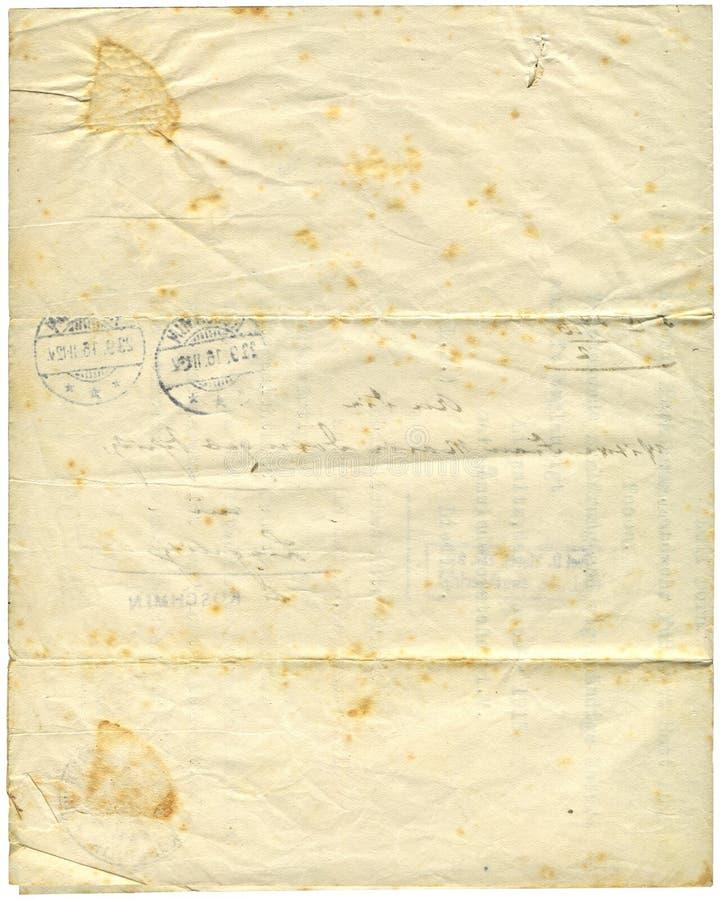 Documento antico, 1916 fotografia stock