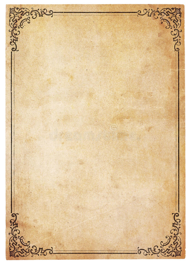 Documento antico in bianco con il bordo dell'annata immagine stock libera da diritti