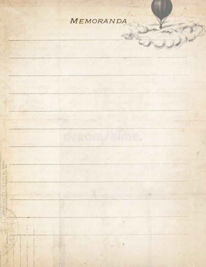 Documento antico dell'appunto dell'annata con l'aerostato illustrazione di stock