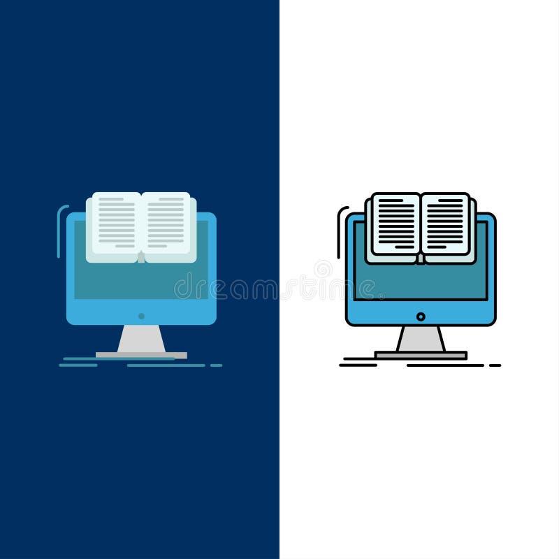 Documento, arquivo, computador, Cv, ícones do livro O plano e a linha ícone enchido ajustaram o fundo azul do vetor ilustração stock